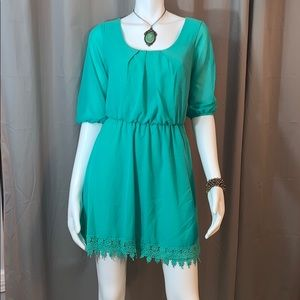 Teal Dress with Lace Trim